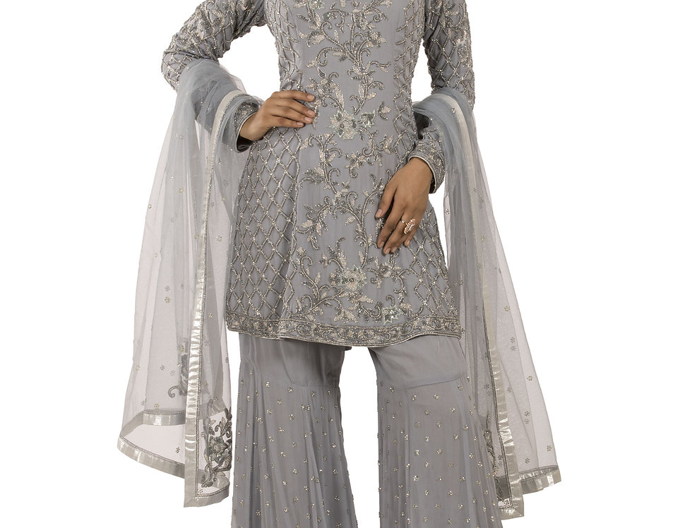 Grey Base Readymade Suit with Garara & Dupatta (Style Code: 2381446)