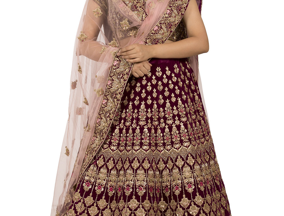 Purple Velvet Lehenga with Zari & Crystal Work & Dupatta (Style Code: 2368226)