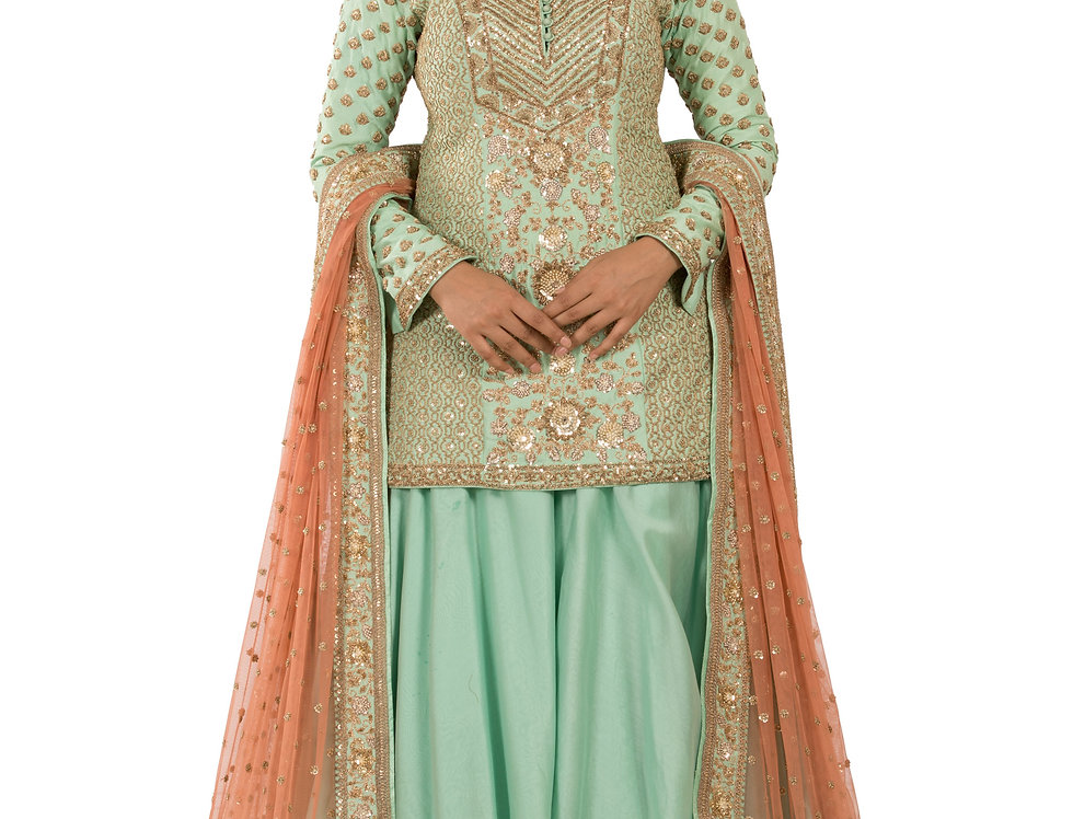 Sea Green Readymade Silk Suit with Sharara & Net Dupatta (Style Code: 2386044)