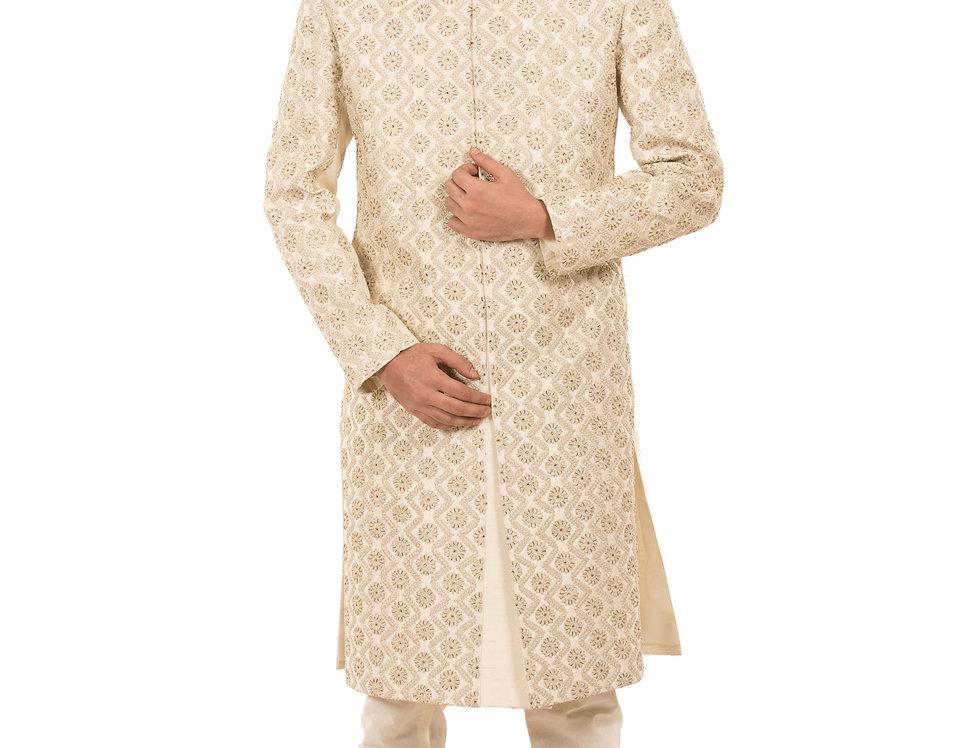 Cream Dupion Sherwani with Resham & Dabka Embroidery (Style Code: 2388067)