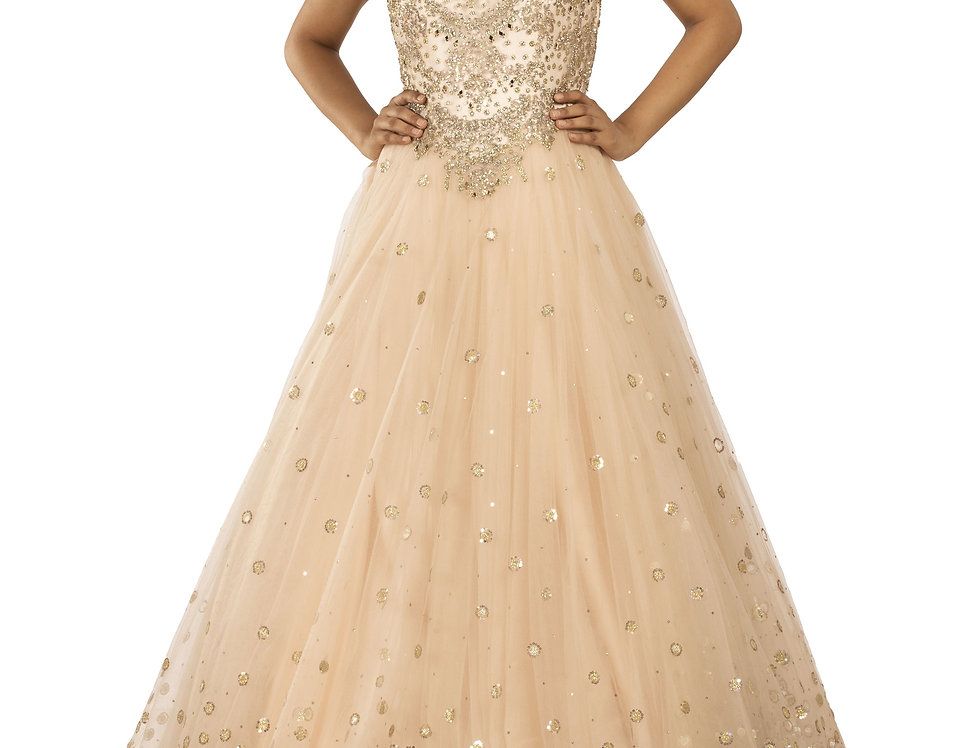 Rose Gold Base Party Wear Gown with Gold Sequence Work (Style Code: 2312911)