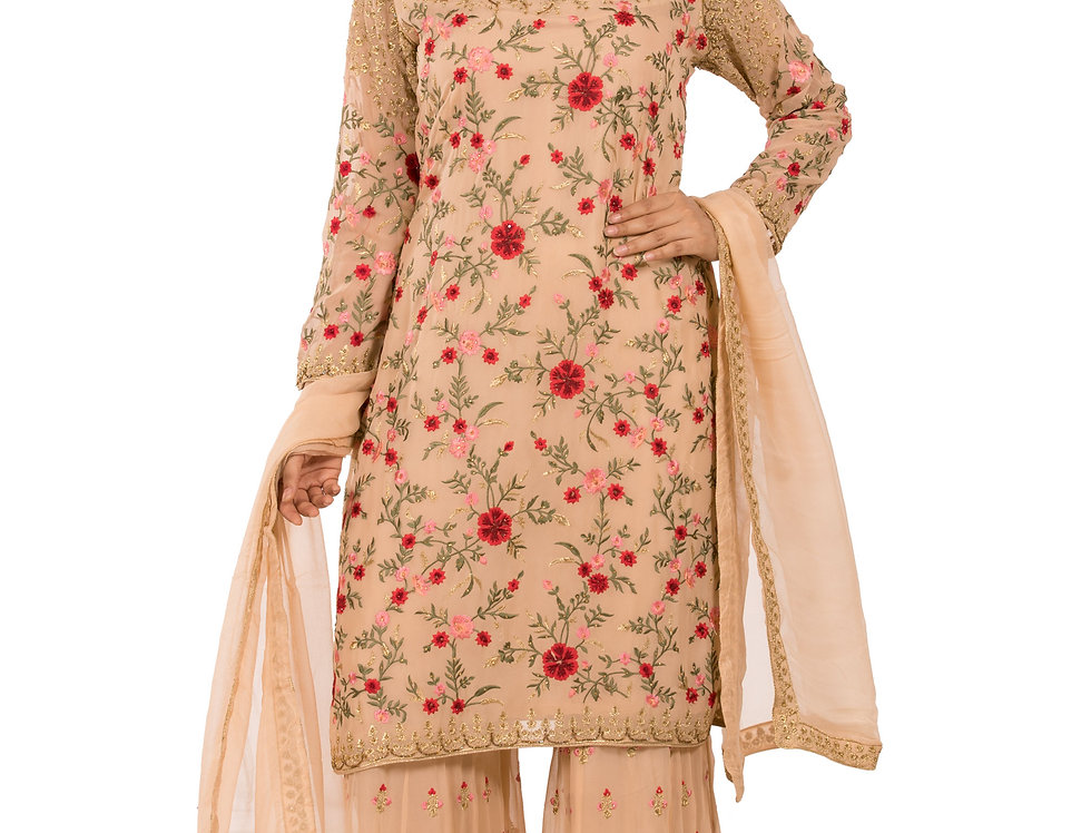 Light Peach Base Readymade Suit with Sharara & Dupatta (Style Code: 2367213)