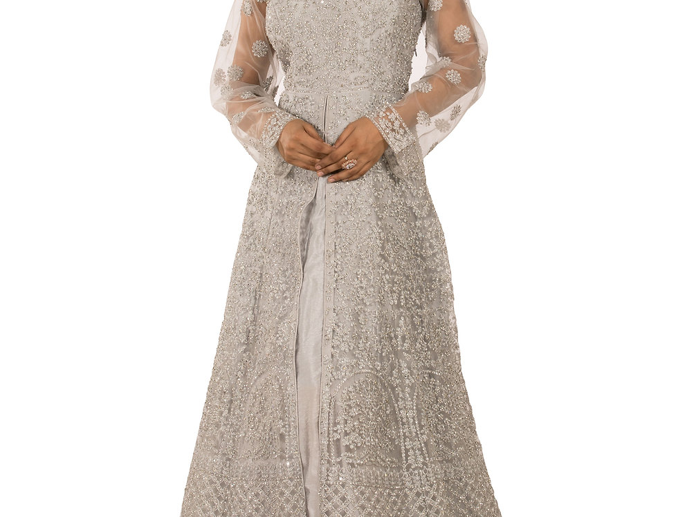 Grey Base Readymade Floor Length Suit with & Dupatta (Style Code: 2389559)