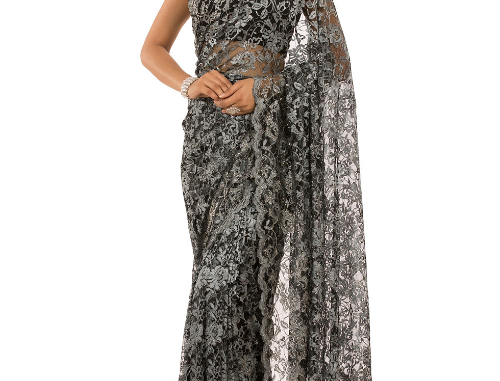 Grey to Black Chatelle Lace Saree with Stone Work & Blouse (Style Code: 2389257)