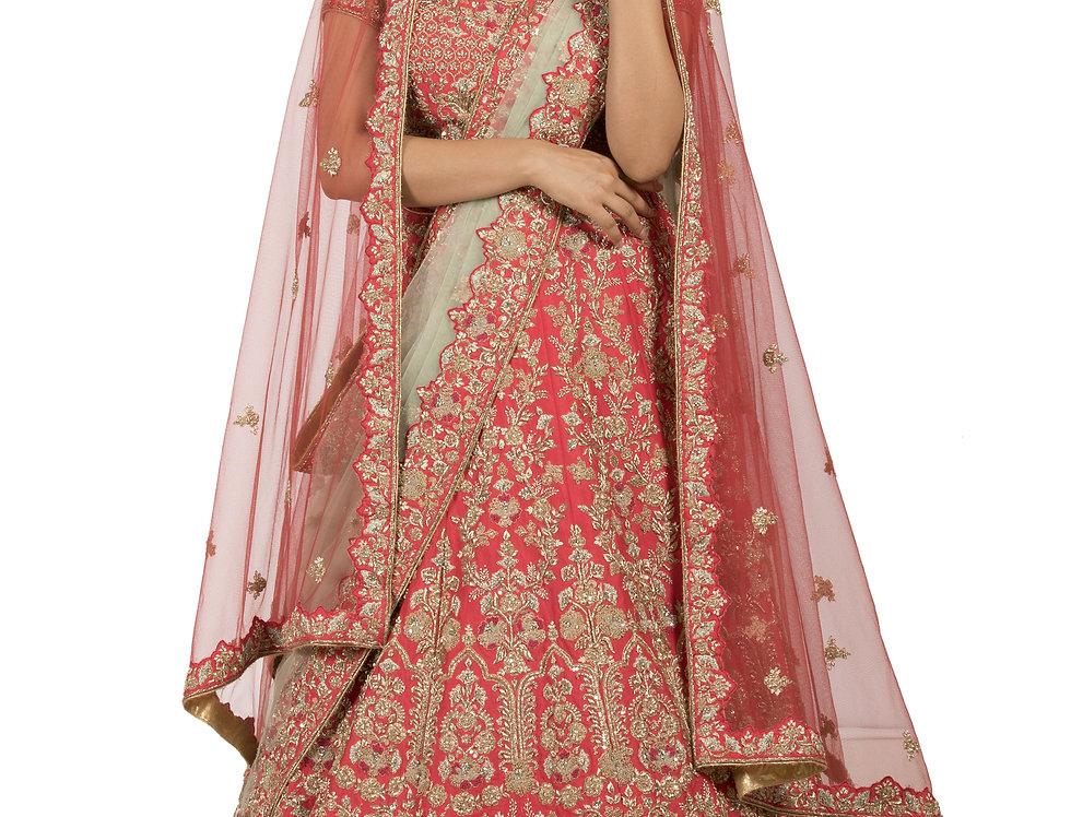Coral Silk Lehenga with Two Separate Dupattas (Style Code: 2309589)