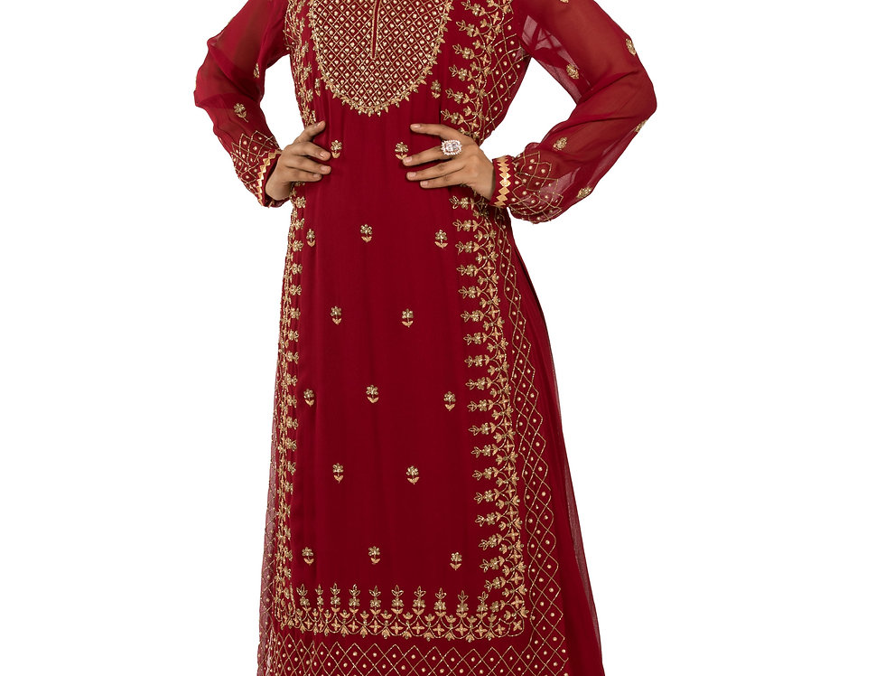 Maroon Base Readymade Suit with Sharara (Code: 2387366)