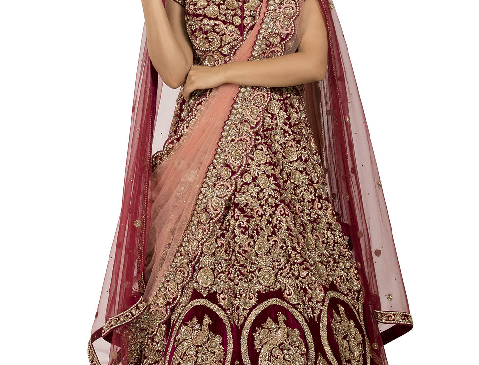 Maroon Long Tail Bridal Lehenga with Two Separate Dupattas (Style Code: 2385951)