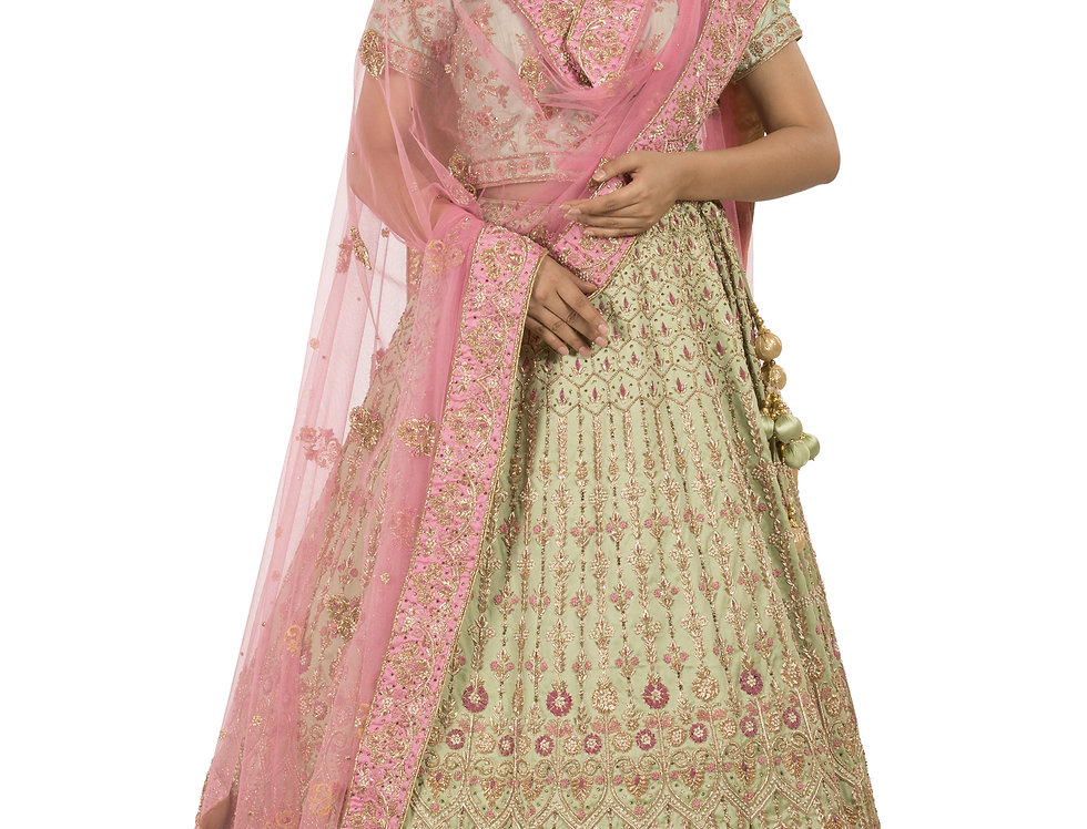 Pista Green Base Silk Lehenga with Bright Pink Dupatta (Style Code: 2375146)