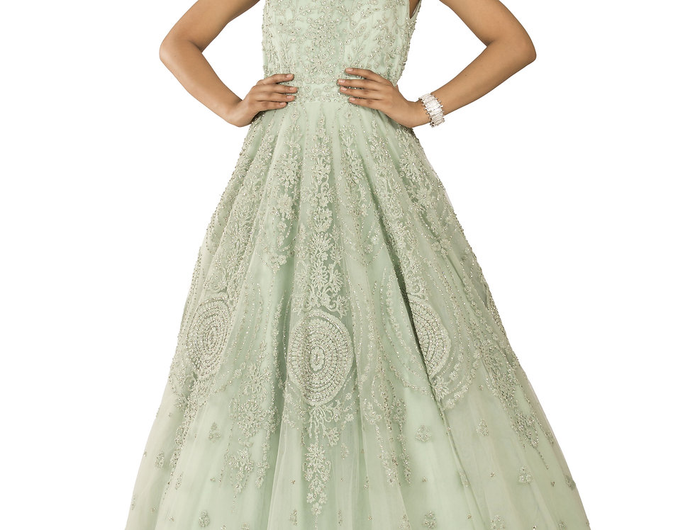 Pista Green Party Wear Gown with Silver Crystal Work (Style Code: 2382121)