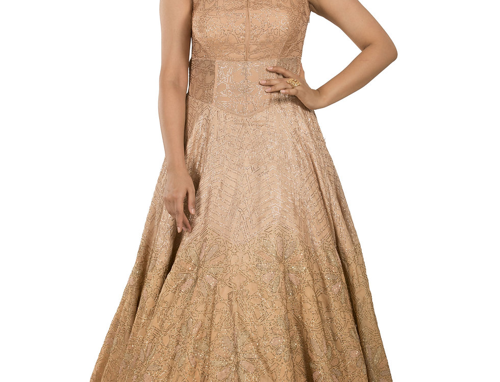 Peach Shaded Party Wear Gown with Gold Swarovski Work (Style Code: 2276402)