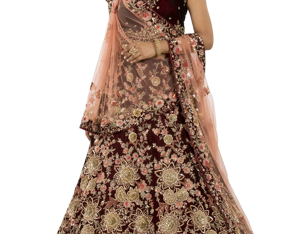 Burgundy Velvet Embroidered Lehenga with Dupatta (Style Code: ST-02)