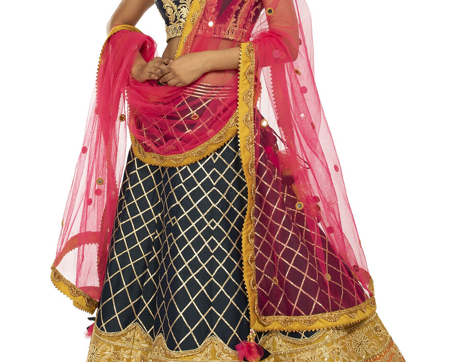 Midnight Blue Party Wear Lehenga with Exquisite Gotta Work (Style Code: 2382082)