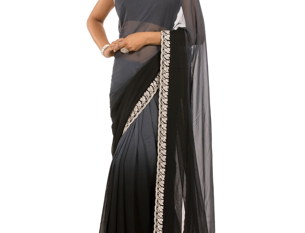 Black to Grey Shaded Georgette Saree with Blouse (Style Code: 2374784)