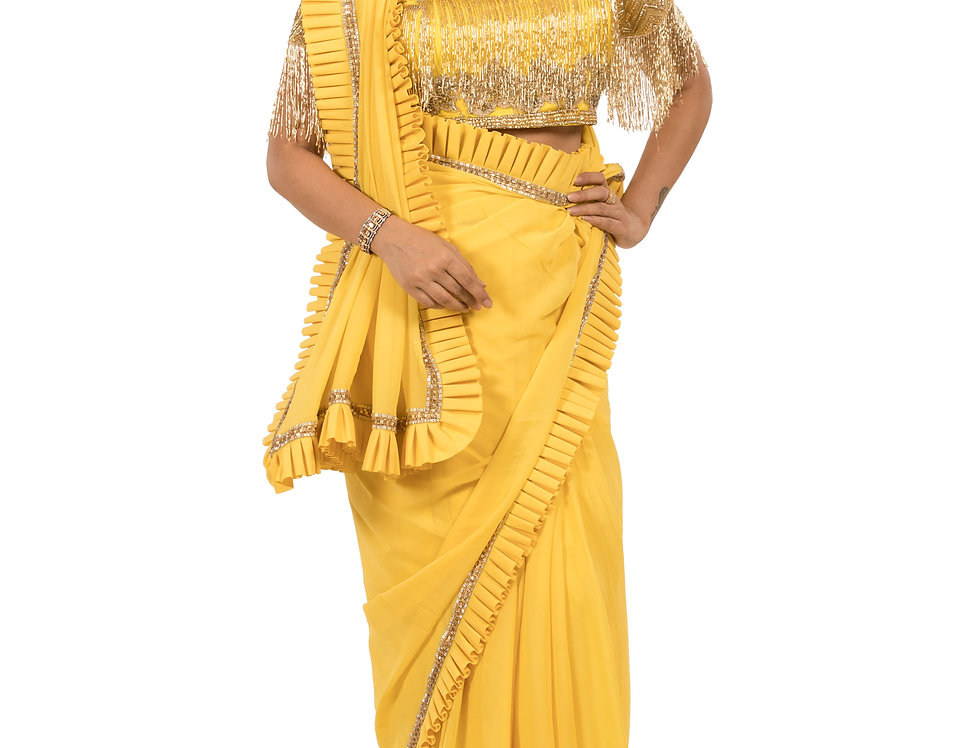 Yellow Base Georgette Saree having Stone Work with Blouse (Style Code: 2386695)