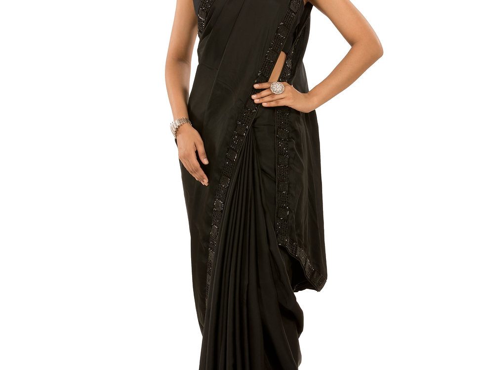 Black Base Satin Saree with Stone & Cut Dana Work & Blouse (Style Code: 2374570)