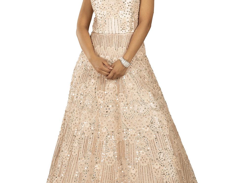 Light Peach Party Wear Gown with Swarovski Work (Style Code: 2360211)
