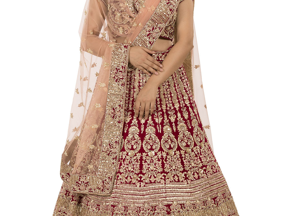Maroon Base Velvet Bridal Lehenga with Peach Dupatta (Style Code: 2369486)