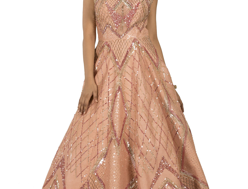 Peach Base Silk Party Wear Gown with Sequence Work (Style Code: 2369341)