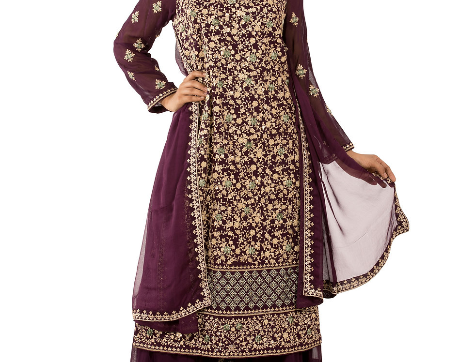 Wine Base Readymade Suit with Sharara & Dupatta (Style Code: 2373592)