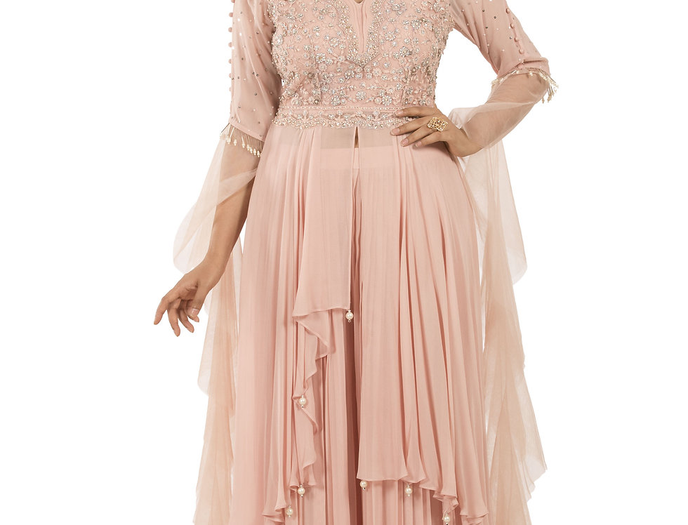 Light Pink Readymade Designer Suit with Sharara (Style Code: 2389256)