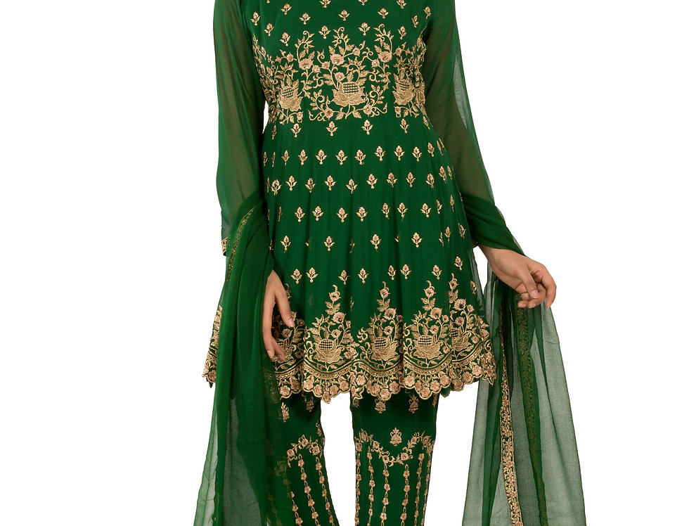 Bottle Green Indo-Western Suit with Pants & Dupatta (Style Code: 2367243)