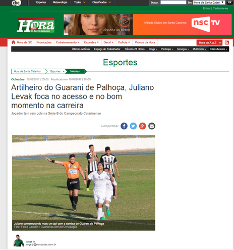 Artilheiro do Guarani-SC, Juliano Levak falou com exclusividade ao Jornal Hora