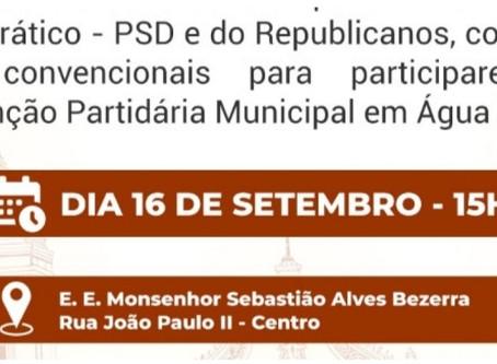 PSD de Água Branca realizará convenção no próximo dia 16 de setembro