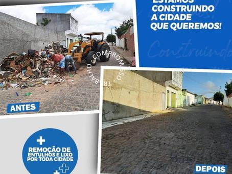 Prefeitura realiza remoção de entulhos e lixo em vários pontos da cidade de Inhapi