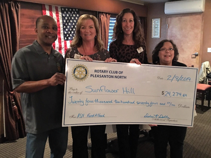Donating over $24,000 to Sunflower Hill!