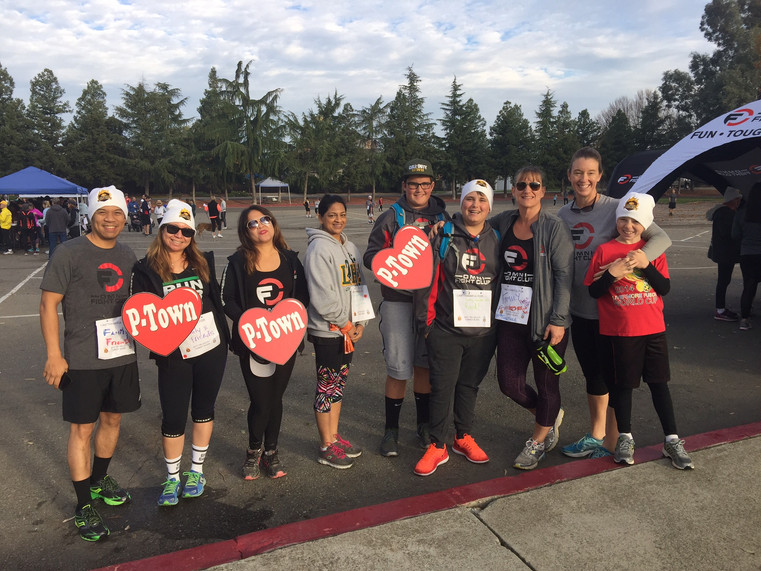 Warming up with a group of besties at the Tri-Valley Turkey Burn