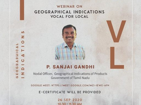 MSME MABIF IPFC webinar on geographical indications : Vocal for local