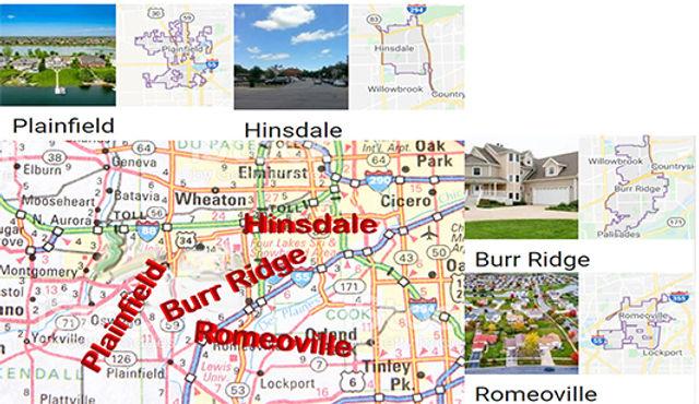 Hinsdale, Plainfield, Burr Ridge, Romeov