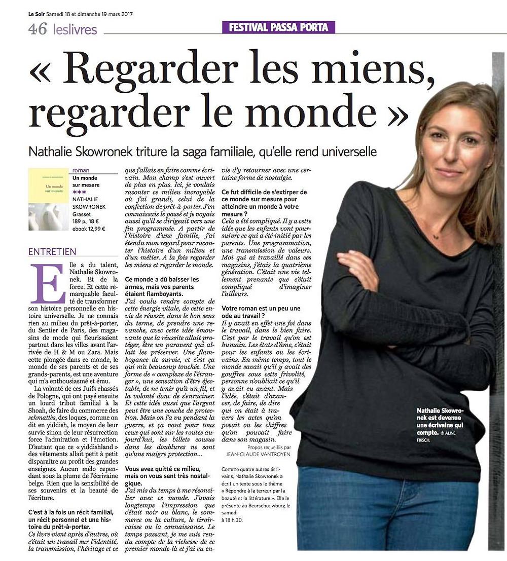 """Nathalie Scowronek dans le Soir avec """"Un monde sur mesure"""""""