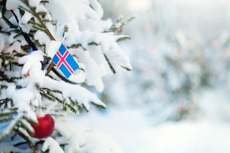 Pino nevado con una bola de navidad roja - Año Nuevo en Islandia 2021