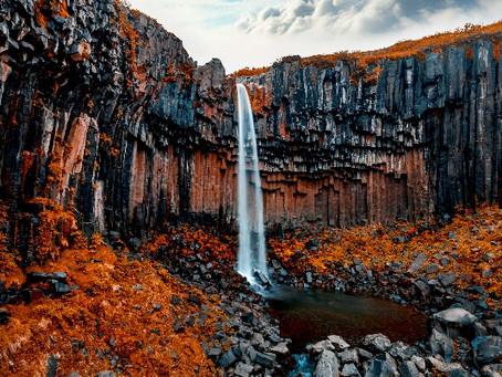 La Cascada Negra de Svartifoss en Islandia