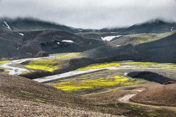 Paisajes de la vía F208 - Carretera de montaña en Islandia