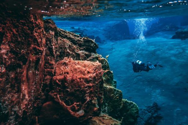 Turista haciendo buceo en Silfra - Excursiones de 1 día desde Reikiavik
