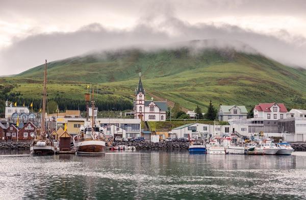 Vista panorámica de Húsavik – Avistamiento de ballenas en Islandia