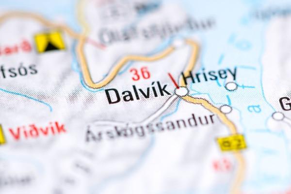 Imagen de Dalvík en un mapa - ¿Qué hacer en Dalvík al norte de Islandia?