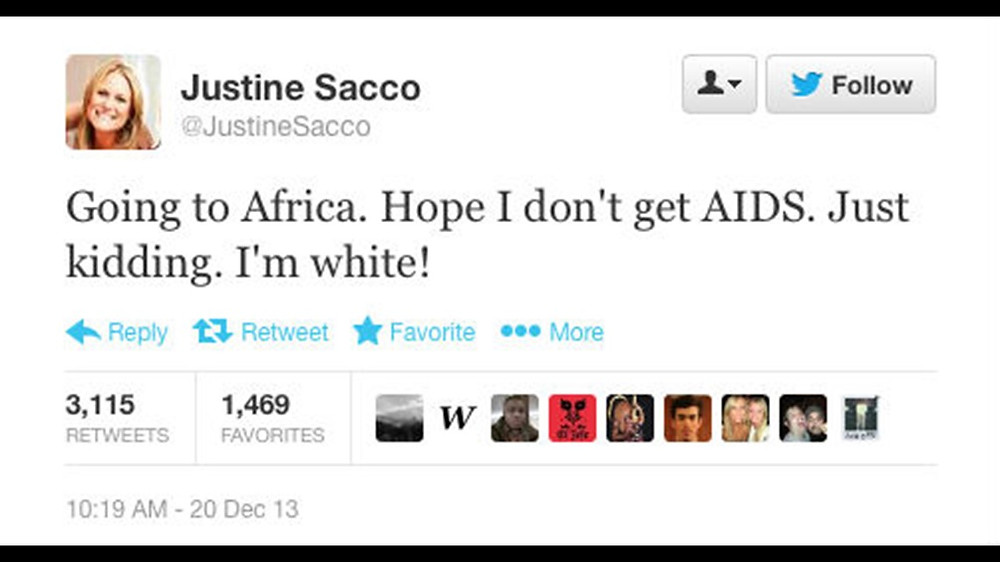 Justine Sacco's Post on Twitter