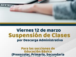 Suspensión de Clases por Descarga Administrativa