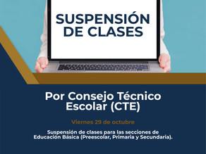 Suspensión de Clases por Consejo Técnico Escolar
