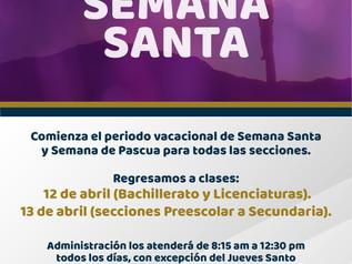 Periodo vacacional Semana Santa