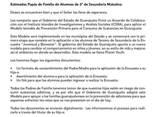 """Aviso Encuesta """"Juventud y Bienestar"""" (3º Secundaria Matutina)"""