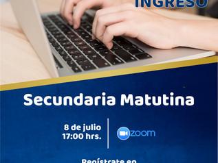 Sesión Informativa NUEVO INGRESO Secundaria Matutina