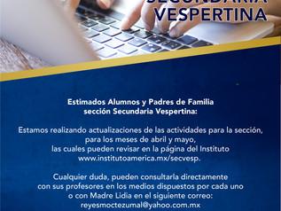Aviso Secundaria Vespertina (actualización de actividades)