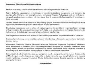 Mensaje de Dirección General a la Comunidad Educativa del Instituto América
