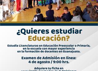 NUEVA FECHA Examen de Admisión Licenciaturas en Educación Preescolar y Primaria
