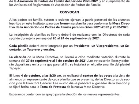 Convocatoria elección Mesa Directiva Asociación de Padres de Familia 2021-2023.