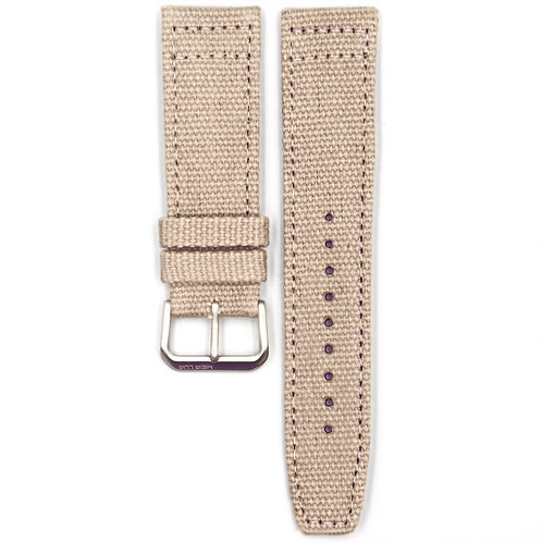 CANVAS MILITARY STRAP - SAND (SILVER BUCKLE)